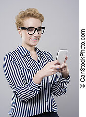 Woman affectionated with mobile phone