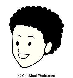 woman afroamerican smiling only face black and white - woman...