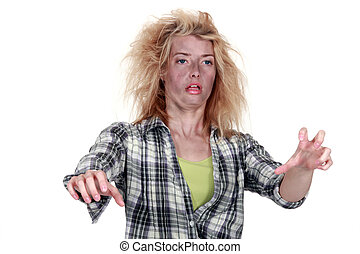 woman after electrical shock