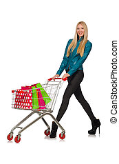 Woman after the christmas shopping