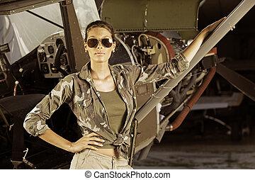 Woman airplane pilot