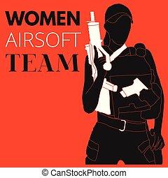 Woman Airsoft Sport Team