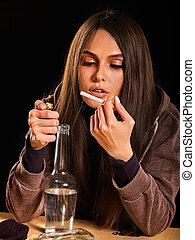 Woman alcoholism is social problem. Female drinking and smoke .