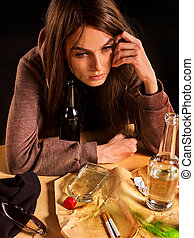 Woman alcoholism is social problem. Female drinking cause of loneliness.