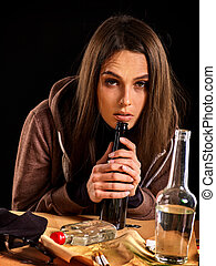 Woman alcoholism is social problem. Female drinking cause poor health