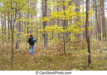woman alone walking in the forest