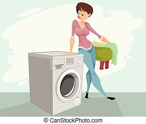 Woman and a washing machine