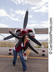 Woman and airplane
