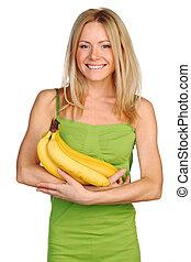 woman and bananas