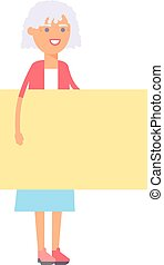Woman and banner vector illustration.