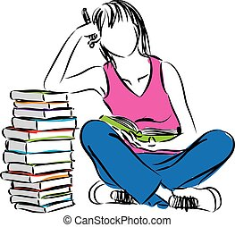 woman and books illustration