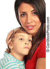 Woman and boy close-up