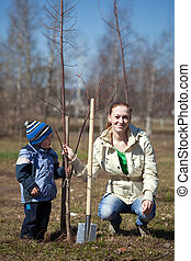 woman and boy planting  tree