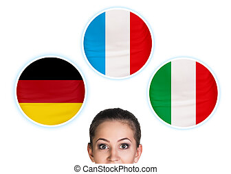 Woman and bubbles with countries flags. - Young woman...