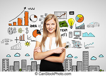 woman and business strategy - businesswoman and plan...