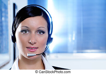 woman and call centre,look in camera