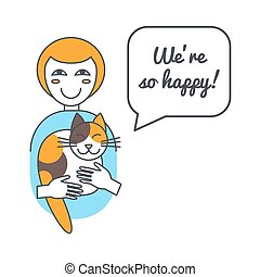 Woman and cat with speech bubble and saying