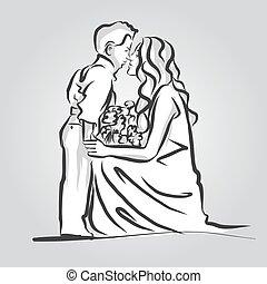 Woman and Child Kisses. Vintage Artwork.