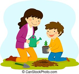 Woman and child planting a sapling - woman and child...