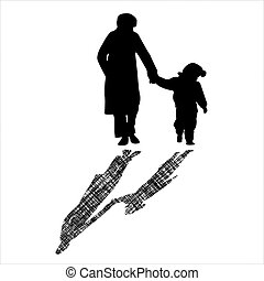 woman and child silhouettes with striped shadow