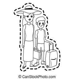 tourist icon image - woman and child tourist icon image ...