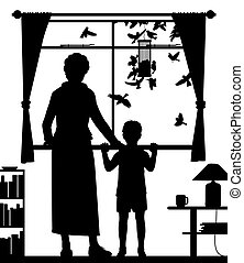 Woman and child watching birds - Editable vector silhouette...