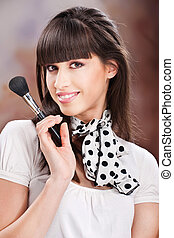 Woman and cosmetic makeup