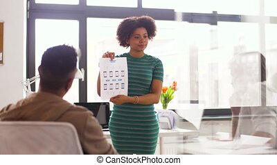 woman and creative team at office presentation