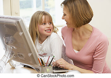 Woman And Daughter Using Computer