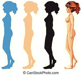 Woman and different color silhouette