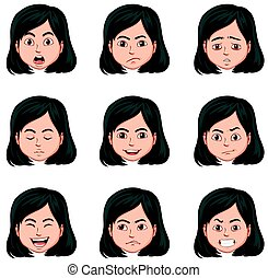 Woman and different facial expressions illustration