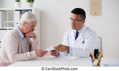 woman and doctor with prescription at clinic