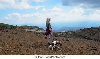 Woman and Dog on Top of Kopaonik - Woman and her companion,...