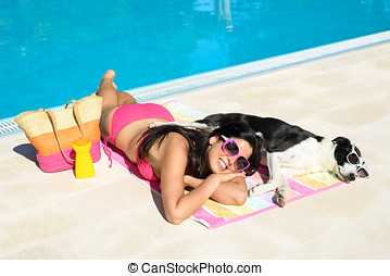 Woman and dog summer relax