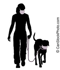 Woman and dog with protective mask going for a walk