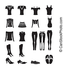 woman and female clothes icons