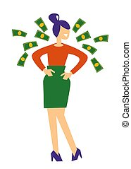 Woman and flying dollar bills, money prize or business profit