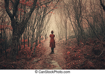 A woman in a dress dress walks through the foggy forest.