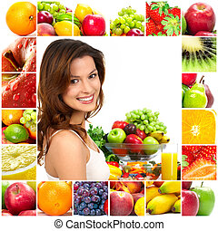 Woman and fruits - Young beautiful smiling woman with fruits...