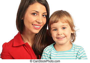 Woman and girl close-up