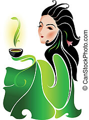 Woman and green tea - Woman with cup of green tea on white ...