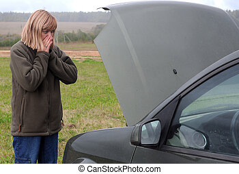 Woman and Her Broken Car