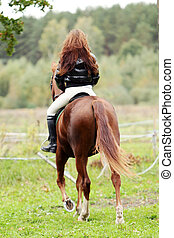 Woman and her beautiful brown horse