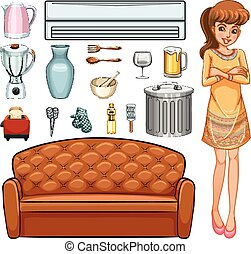 Woman and household equipment