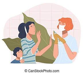 Mother and son refusing to take injection with coronavirus vaccine. People against vaccination, woman and small kid in hospital or private clinics. Treatment and heath care. Vector in flat style