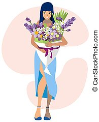 Woman and large bouquet of flowers. In minimalist style Cartoon flat Vector