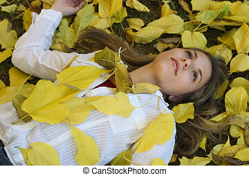 Woman and Leaves