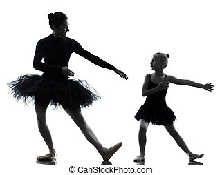 woman and  little girl   ballerina ballet dancer dancing in silhouette on white background