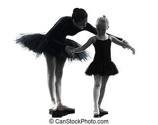 woman and little girl  ballerina ballet dancer dancing silhouett