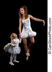 Woman and little girl ballerina ballet dancer